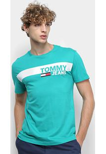 Camiseta Tommy Jeans Essential Box Logo Tee Masculina - Masculino-Verde