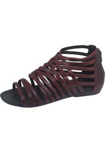 Rasteira S2 Shoes Conforto Couro Vinho