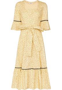 Batsheva Vestido Delsy Com Cinto E Estampa Floral - Amarelo