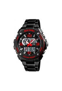 Relógio Skmei Masculino -1333- Preto E Vermelho