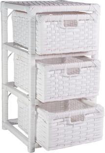 Gaveteiro Criado Mudo Fibra Sintética 3 Gav 30X30X57 Branco
