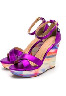 Sandalia Anabela Roxo Metalizada E Tie Dye - Multicolorido/Roxo - Feminino - Dafiti