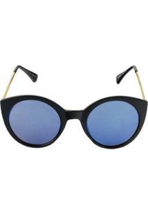 Óculos De Sol Khatto Cat Eyes Feminino - Feminino-Preto+Azul