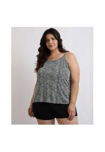 Pijama Feminino Mindset Plus Size Regata Estampada De Animal Print Onça Alças Finas Preto