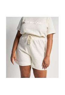 Bermuda Em Malha Tweed Com Amarração Curve & Plus Size   Ashua Curve E Plus Size   Bege   G