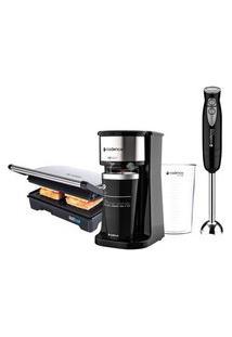 Kit Cadence Black - Cafeteira - Grill - Mixer - 127V