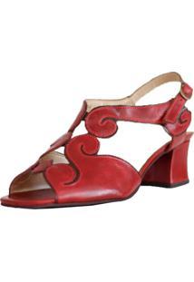 Sandália Zambeze Salto Grosso Estilo Retrô Vintage Vermelha