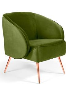 Poltrona Decorativa Fixa Pés Palito Metalizado Agnes Veludo Verde A-295 - Lyam Decor