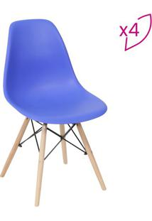 Jogo De Cadeiras Eames Dkr- Azul Escuro & Bege- 4Pã§Sor Design