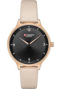 Relógio Curren Analógico C9039L Preto E Bege