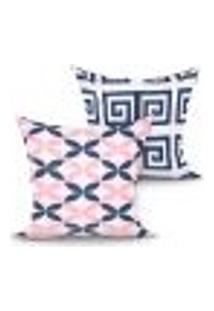 Capa Almofada Decorativa Rosa E Azul Para Quarto Ou Sala Kit Com 2 Unidades 45Cm X 45Cm Com Zíper