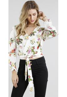 Blusa Feminina Transpassada Estampada Floral Com Nó Manga Longa Decote V Off White