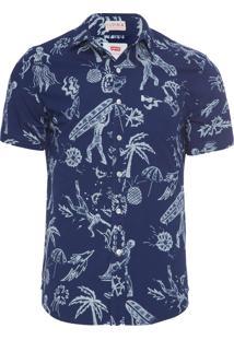 Camisa Masculina Short Sleeve Susnset One Pocket - Azul
