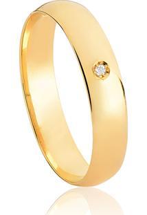 Aliança De Ouro 18K Anatômica Abaulada Polida Com Diamante (4,00Mm)