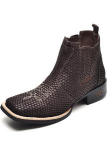 Bota Couro Country Top Franca Shoes Escama Masculino - Masculino-Café