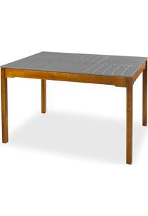 Mesa Para Sala De Jantar Compacta De Madeira Maciça Taeda Com Tampo Colorido Olga Verniz Nózes E Cinza Concreto 120X80X75Cm