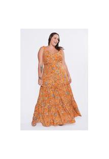 Vestido Almaria Plus Size Tal Qual Longo Estampado Amarelo