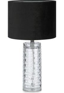 Abajur Amora Premier Iluminação Vidro E Tecido Preto Única