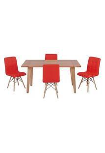 Conjunto Mesa De Jantar Em Madeira 150X80 Vértice + 4 Cadeiras Gomos - Vermelho