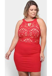 Vestido Eagle Rock Tubinho Curto Renda Plus Size - Feminino-Vermelho