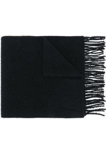Acne Studios Cachecol De Lã Com Franjas - Preto