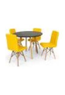 Conjunto Mesa De Jantar Laura 100Cm Preta Com 4 Cadeiras Eiffel Gomos - Amarela