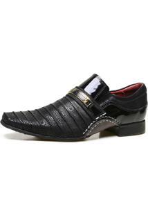 Sapato Social Artesanal Calvest Em Couro Com Textura Preto