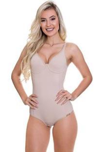 Body Modelador Com Bojo Pós Parto Com Compressão Abdominal - Feminino-Bege