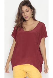 Blusa Ampla Em Seda Com Pespontos- Vermelho Escuro- Bobstore