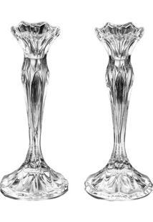 Conjunto De Castiçais Louise- Cristal- 2Pçs- Rojrojemac