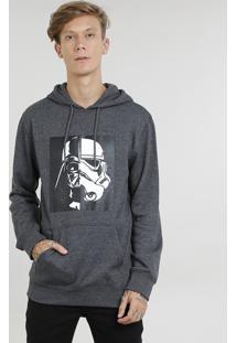 Blusão Masculino Darth Vader Stormtrooper Em Moletom Com Capuz Cinza Mescla Escuro