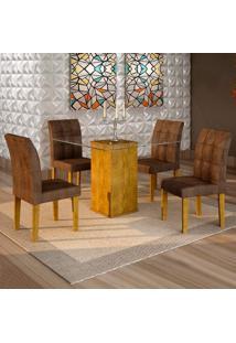 Conjunto De Mesa De Jantar Havana Com 4 Cadeiras Vitória Veludo Ypê E Marrom