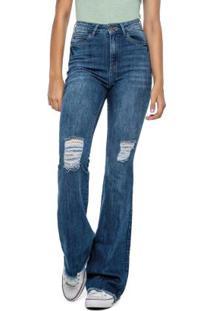 Calça Azul Flare Jeans Cintura Alta