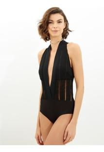 Body John John Stripes Big Malha Preto Feminino (Preto, Pp)