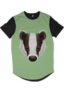 Camiseta Longline Bsc Cara De Texugo Listrado Sublimada - Masculino-Verde
