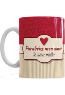 Caneca De Cerâmica Sude Presentes Parabéns Meu Amor Vermelha