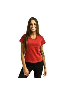 Camiseta Rich Young Gola V Básica Lisa Simples Malha Vermelho