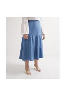 Saia Midi Em Jeans Com Babados Curve & Plus Size