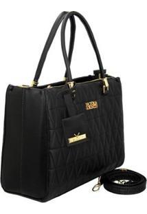 Bolsa Handbag Matelassê Triangle De Mão Zíper Feminina - Feminino-Preto