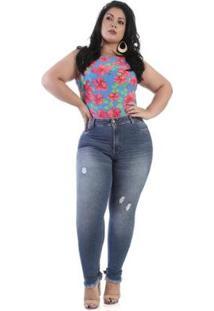 Calça Jeans Sawary Plus Size 264017 Feminina - Feminino-Azul