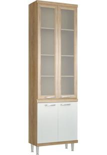 Paneleiro 4 Portas 700Mm Sicília Com Vidro Argila E Branco-Texturizado Multimóveis