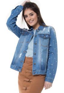 Jaqueta Rosa Line Jeans Bicolor Com Aplicação De Pérolas Na Manga