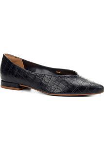 Sapatilha Shoestock Croco High Vamp Feminina - Feminino-Marinho