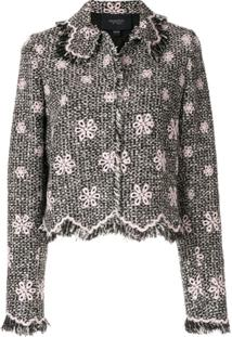 Giambattista Valli Floral Fringe Jacket - Preto