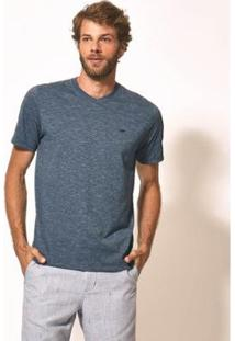 Camiseta Aviator Gola V Básica Masculina - Masculino-Azul