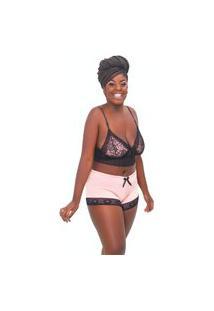 Baby Doll Feminino Plus Size Sexy Sensual Short E Croppes Renda Lumi Store