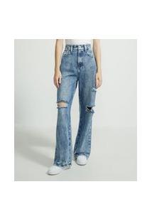 Calça Pantalona Jeans Com Rasgos E Puídos | Blue Steel | Azul | 42