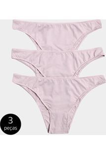 Calcinha Tanga Stellarum Básica 3 Peças - Feminino-Nude