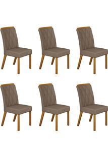 Conjunto Com 6 Cadeiras Esmeralda Imbuia Mel E Veludo Camurça