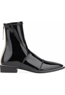 Fendi Ankle Boot De Couro Envernizado - Neutro